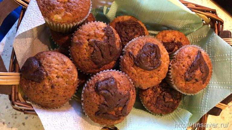 Банановые кексы с органической орехово-шоколадной пастой.